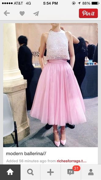 pink skirt ankle length high waisted tulle skirt embellished top blouse light ombre sparkle crop tops tank top top white beaded sleveless dress prom dress pink dress sequins embellished embellished dress pink tulle dress