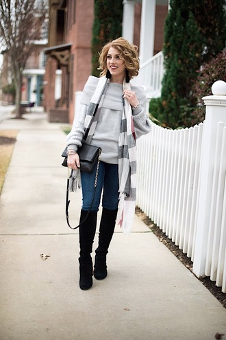 something delightful blogger sweater bag jewels scarf shoes