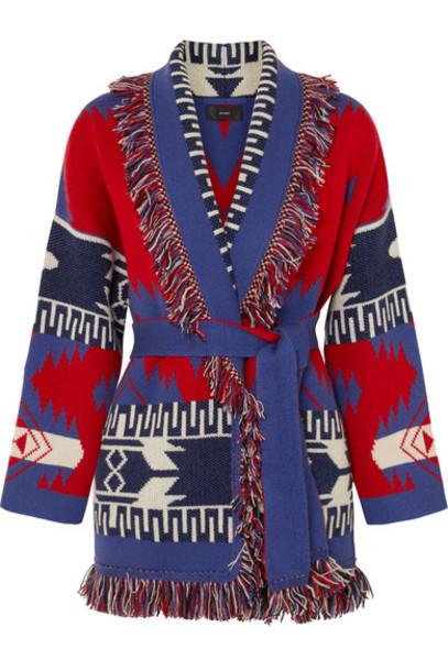 Alanui cardigan cardigan jacquard knit red sweater
