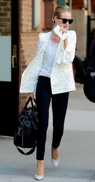jeans black jeans rosie huntington-whiteley blazer jacket blouse pumps top