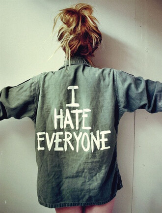 jacket shirt house of troika army green jacket i hate everyone army green quote on it white