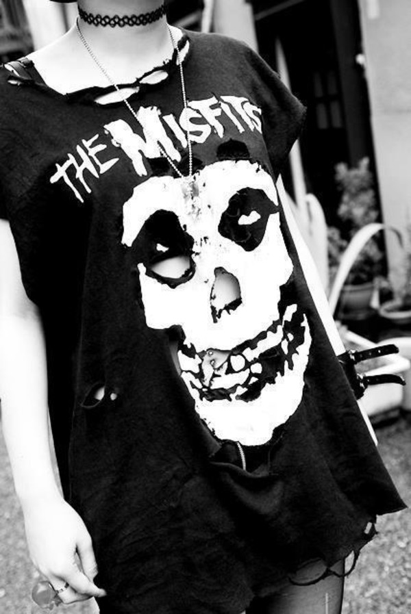 punk misfits black t-shirt shirt