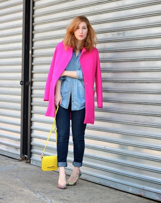 tf diaries blogger jeans hot pink pink coat denim shirt yellow bag