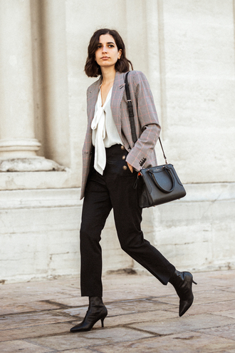 coat tumblr jacket blazer grey blazer bag black bag pants black pants shirt white shirt boots black boots
