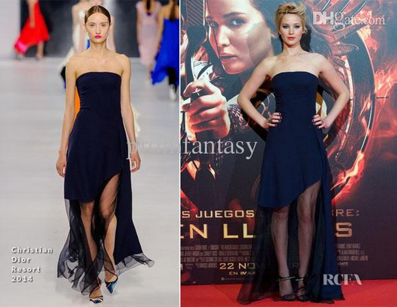 dress long dress fashion blue dress celebrity style jennifer lawrence red carpet