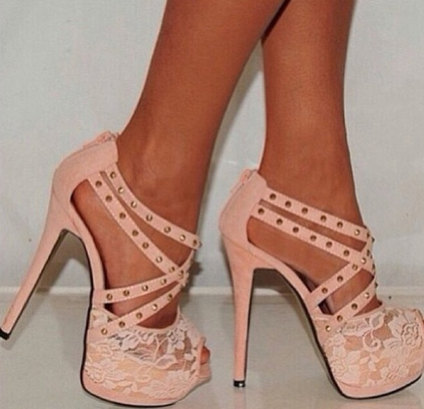 601fdc259bf shoes pink strappy studs lace pink shoes high heel sandals high heels  salmon shoes nude high