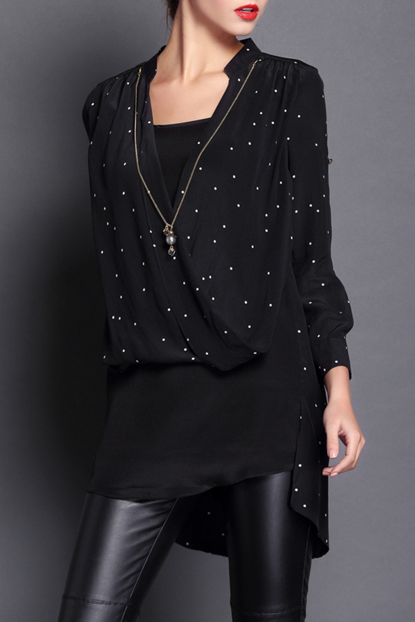 Polka Dot High Low Hem Blouse