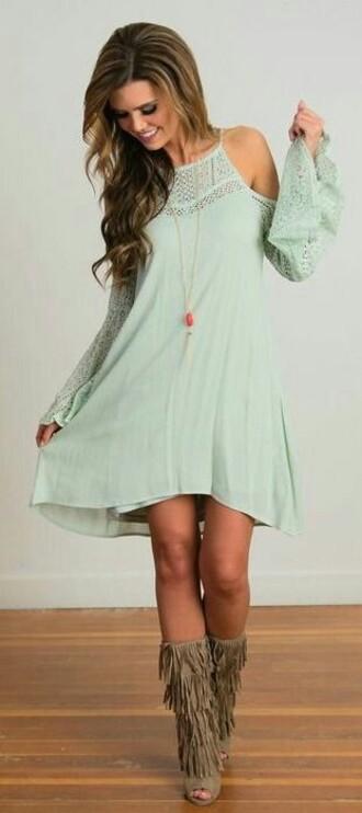 dress mint boho dress