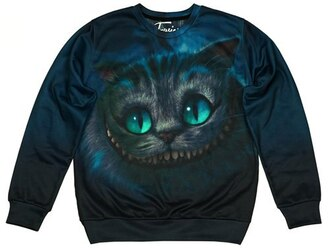 sweater blue blue sweater printed sweater cats fall sweater fusion alice in wonderland clothes cheshire cat smile funny movies cartoon
