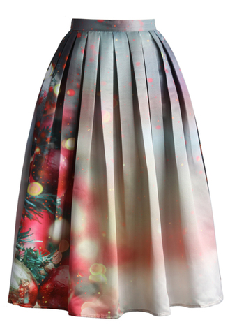 skirt merry ornaments print midi skirt chicwish midi skirt pleated skirt
