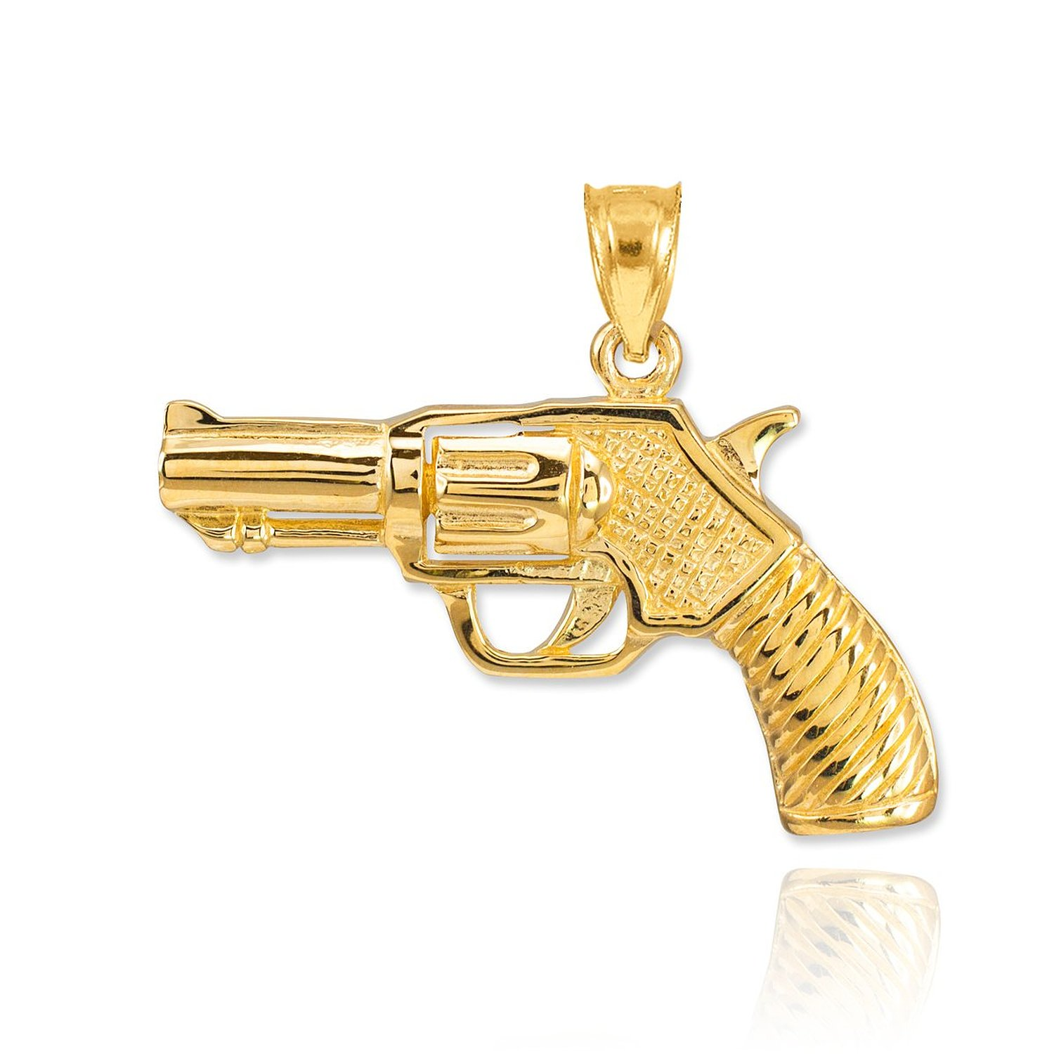 Amazon.com: fine 10k yellow gold revolver pistol charm gun pendant: jewelry