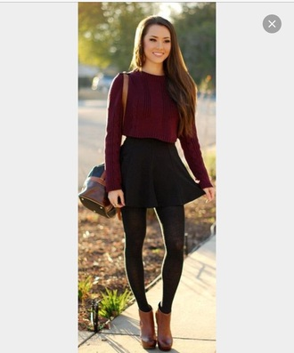 sweater jumper cropped sweater sixth form burgundy fall outfits fall fashoin