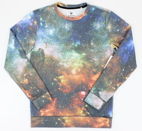 On The Byas Mens Galaxy Print Crew Fleece Sweatshirt Multi-Color Small S New