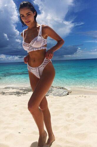 swimwear bikini bikini top bikini bottoms white swimwear white bikini olivia culpo beach