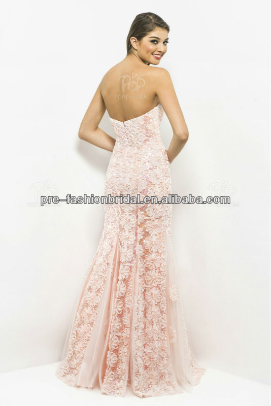 Alibaba.com - Wholesale Strapless Beaded Bustline Light Pink Mermaid Lace Prom Dresses 2013