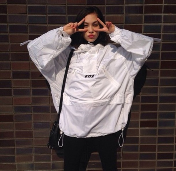 Jacket: white, rain jacket, windbreaker, bag, leggings, big ...