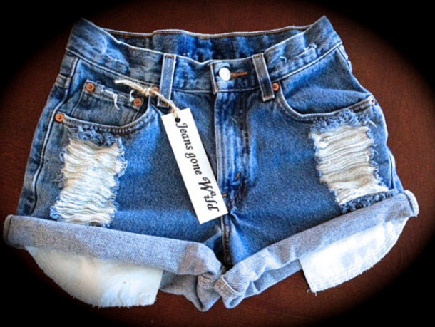 Shorts: high waisted shorts, ripped shorts - Wheretoget