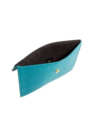 ASOS   ASOS Croc Clutch Bag With Metal Frame at ASOS