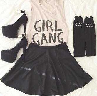 girl skirt style high heels grey girly shoes socks tank top aliexpress