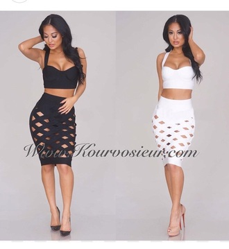 skirt top crop tops white crop tops white top white skirt black crop top black skirt black top outfit pencil skirt see through high heels cute high heels shoes style two-piece black heels