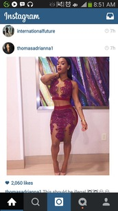 dress,mesh skirt,mesh crop tops,skirtandtop,burgundy skirt,burgundy top,mesh,ilkusion,bodcon,lira galore,burgundy 2 piece,see through dress,red dress