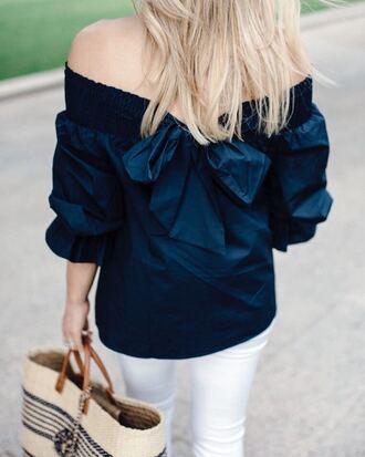 top tumblr blue top off the shoulder off the shoulder top navy bag basket bag bow top