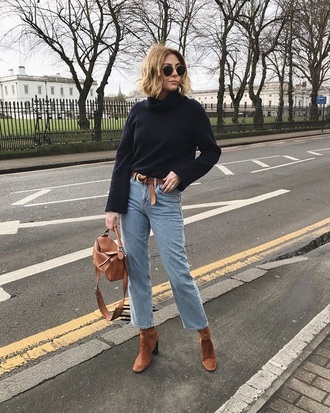 sweater black sweater brown boots turtleneck turtleneck sweater jeans blue jeans belt boots ankle boots sunglasses