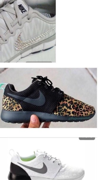 shoes black roshes with cheeta