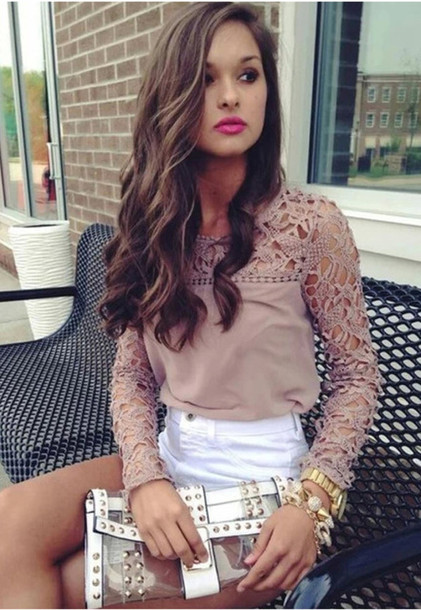 blouse patchwork lace chiffion emboriey crochet shorts