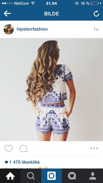 jumpsuit blue and white