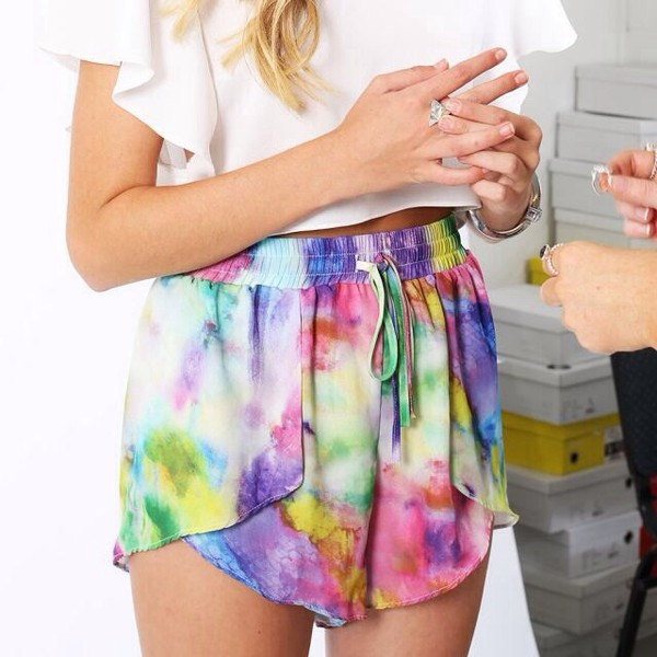 shorts colorful artsy galaxy print gym shorts cute light now