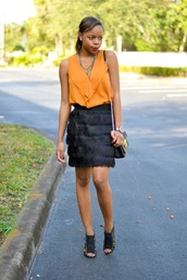 cha cha the fashion genius,blogger,top,fringes,black skirt,sandals,orange,skirt,silk skirt