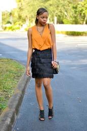 cha cha the fashion genius,blogger,top,fringes,black skirt,sandals,orange,skirt,silk skirt