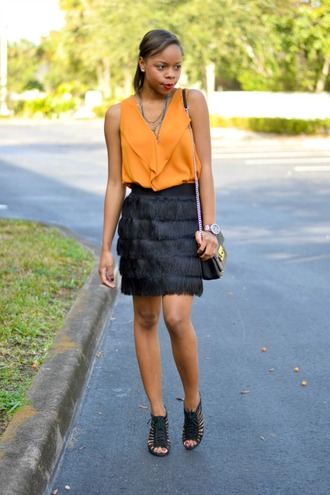 cha cha the fashion genius blogger top fringes black skirt sandals orange