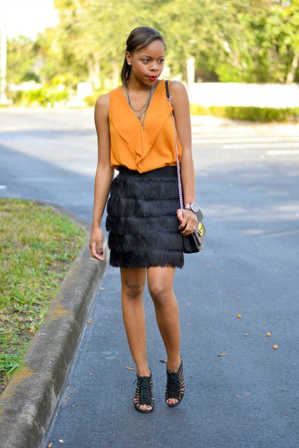 cha cha the fashion genius blogger top fringes black skirt sandals orange skirt silk skirt