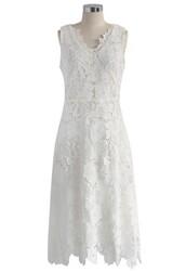 dress,floral angel crochet midi dress in white,chicwish,midi dress,crochet dress,floral
