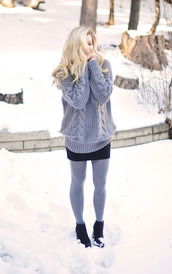 love maegan,blogger,tights,cable knit,grey sweater,winter sweater,opaque tights,mini skirt,boots,winter outfits,grey oversized sweater,grey cable knit sweater