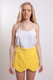 pants,yellow,skorts,yellow skort