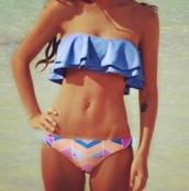swimwear,blue,ruffle,tribal pattern,tribal swimwear