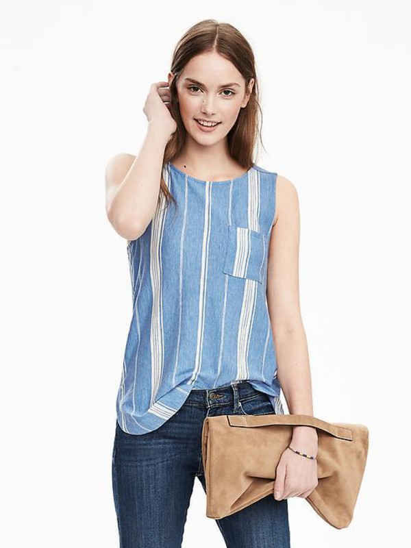 top striped top blue and white tank top