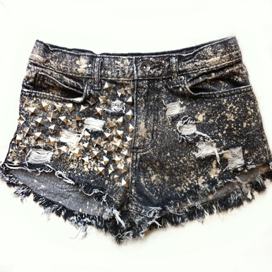 Glam Grey Acid Studded Shorts - Arad Denim