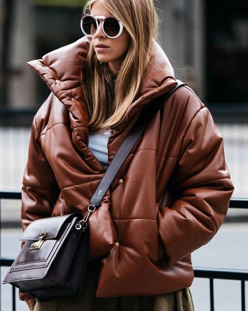jacket tumblr brown jacket puffer jacket oversized oversized jacket sunglasses white sunglasses bag crossbody bag