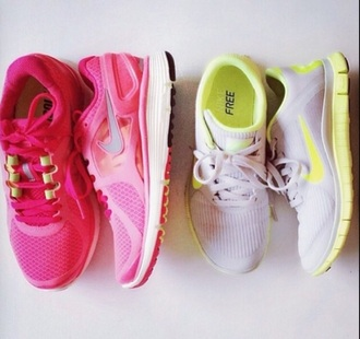 shoes pink neon yellow sports running shoes nike