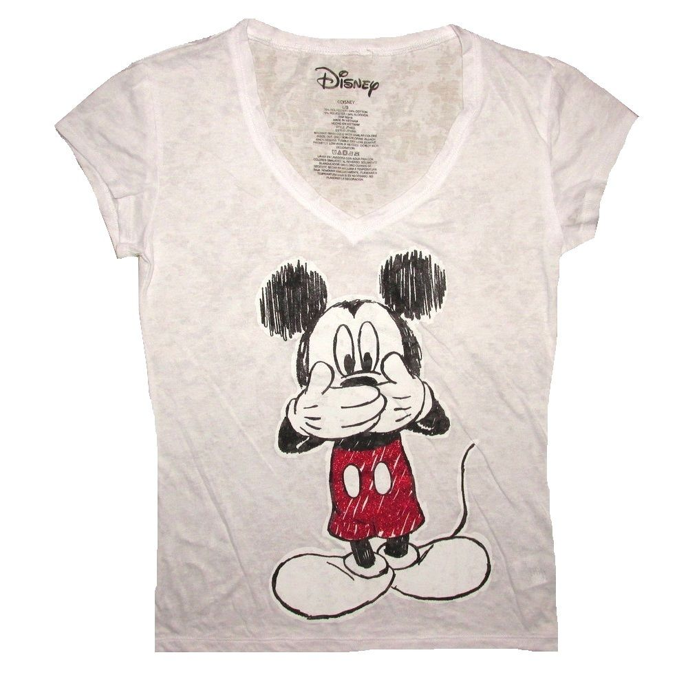 009123ccc Disney Mickey Mouse Sketch Art Glitter Women's Juniors White V-Neck T-Shirt