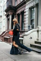 the fashion guitar,blogger,dress,sweater,bag,shoes,sunglasses,cowgirl boots,maxi dress,front slit,black sunglasses,mini bag,jacket