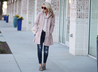 twopeasinablog blogger coat shoes jeans sunglasses fall outfits winter outfits pink coat booties white sweater