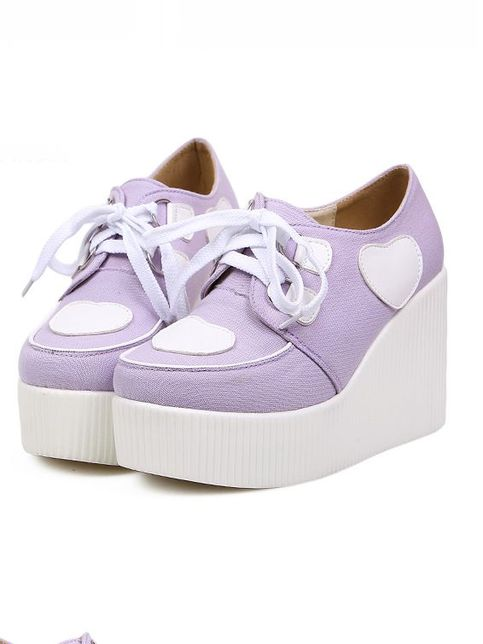 Dolly Dynamite | Heart Creeper Wedges (Lavender) | Online Store Powered by Storenvy