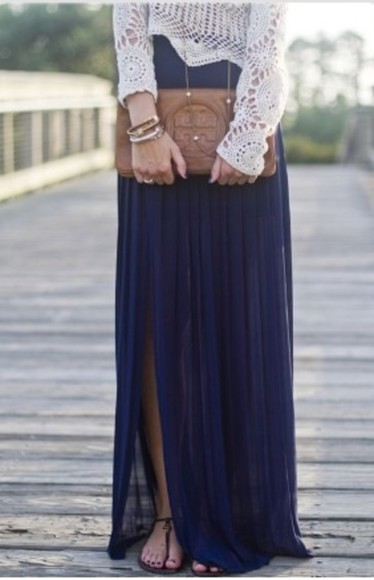 navy maxi skirt pleated skirt skirt navy skirt shirt shoes lace blouse blue see through hello kitty maxi skirt chiffon blue skirt purple skirt chiffon skirt bag tory burch crochet top long sleeves