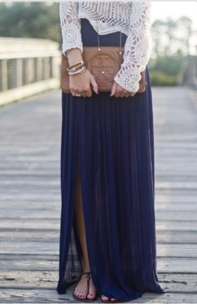 Skirt: navy skirt, shirt, shoes, blouse, lace, red, blue, see ...