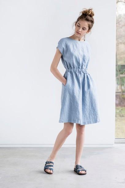 82f5b782978 dress linen linen dress blue dress spring dress slide shoes birkenstocks  blue shoes